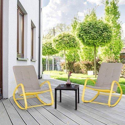 3pc set with patio rocking chairs metal side table yellow captiva designs