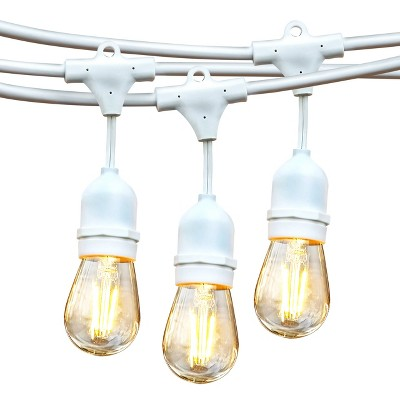 brightech ambience pro outdoor string lights with 15 hanging sockets white led edison bulb for outside backyard cafe patio or porch 48 foot