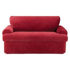 Sure Fit Stretch Pique 3 Piece T Cushion Sofa Slipcover Orange Leather Canada Loveseat Target 3pc