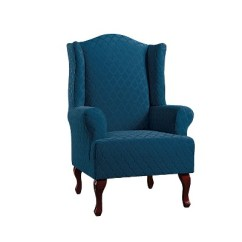 Blue Wingback Chair Slipcovers Medicine Ball Exercises Stretch Marrakesh Wing Slipcover Sure Fit Target