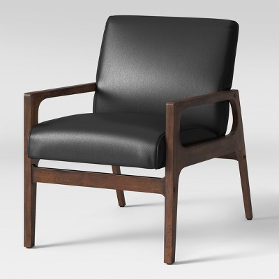 mid century modern leather accent chair desk you can sleep in peoria wood arm black faux project 62 target