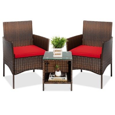 best choice products 3 piece outdoor wicker conversation bistro set patio chat furniture w 2 chairs table brown red