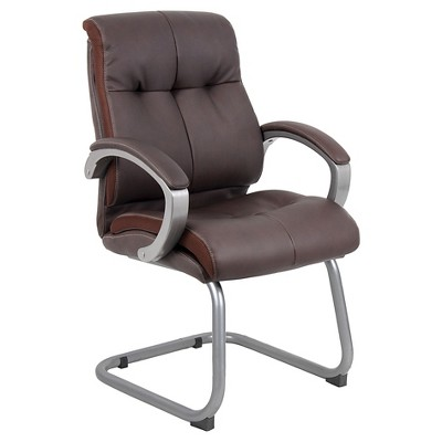 brown office guest chairs comfortable gaming double plush executive chair bomber boss products target
