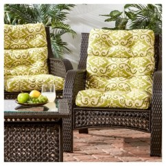 High Back Wicker Chair Cushions Cushion For Set Of 2 Outdoor Green Ikat Greendale Home Fashions Target