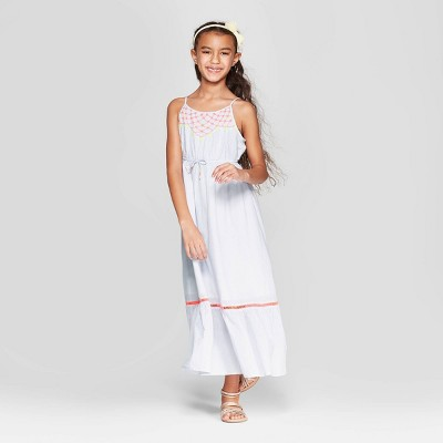 Girls' Embroidered Woven Maxi Dress - Cat & Jack™ Blue