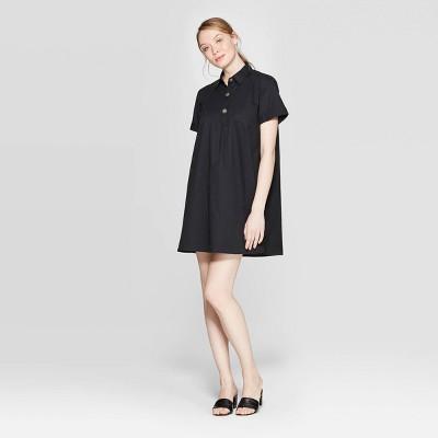 Women's Short Sleeve V-Neck Trapeze Shirtdress - Who What Wear™