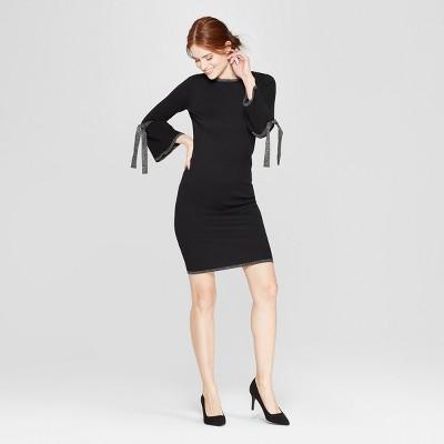 Women's Shine Tie Sleeve Sweater Dress - Spenser Jeremy - Black/Silver