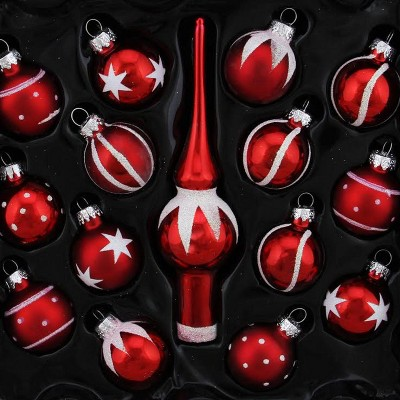 Northlight 15-Piece Red and White Mini Glass Ball and Finial Tree Topper Christmas Ornament Set