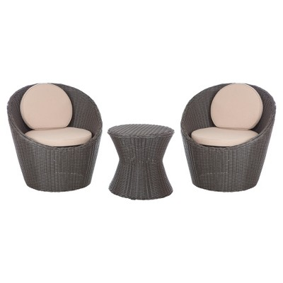 round wicker chair animal print dining chairs bella bollo 3pc all weather patio chat set brown fire sense target