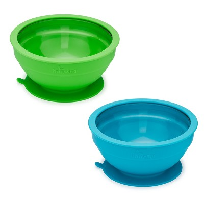 Brinware Glass/Silicone Baby Bowls 14.8oz Blue/Green - Set of 2