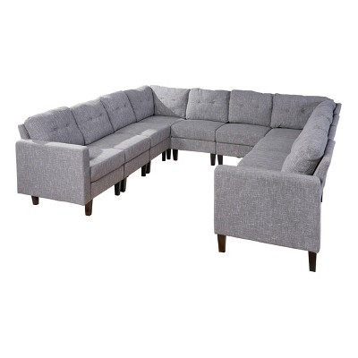 10pc delilah mid century modern u shaped sectional sofa set gray christopher knight home