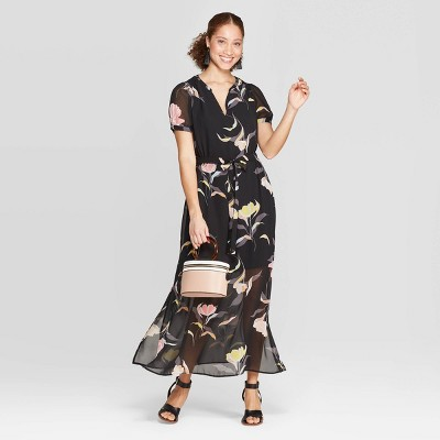 Women's Floral Print Casual Fit Short Sleeve Deep V-Neck Chiffon Maxi Dress - A New Day™ Black