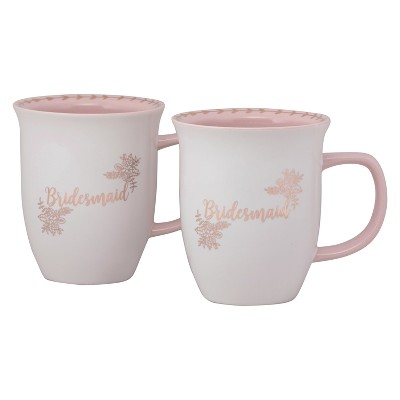 10 Strawberry Street Bride Squad Porcelain Bridesmaid Mug 16oz Pink/White - Set of 2