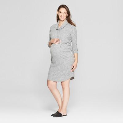 Maternity Cowl Neck Sweatshirt Dress - Isabel Maternity by Ingrid & Isabel™ Heather Gray