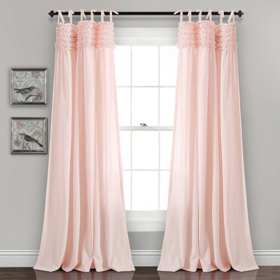 set of 2 84 x40 lydia ruffle window curtain panels cream blush lush decor
