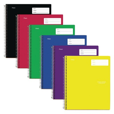 6ct Spiral Notebook 1 Subject College Ruled Classic Colors - Five Star