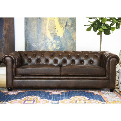 tufted leather sofa cheap down filled keswick abbyson living target