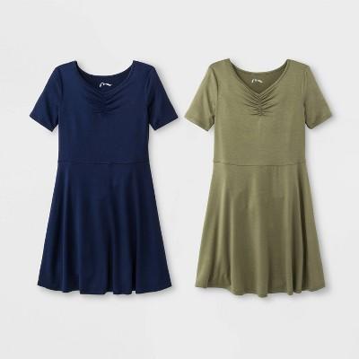 Girls' Cinched Front 2pk Dress - art class™ Blue/Olive