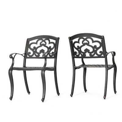 aluminum dining chairs target brenton studio chair austin 2pk cast shiny copper christopher knight home