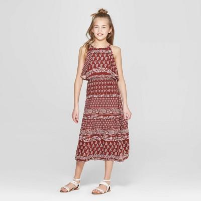 Girls' Ruffle Dress - art class™ Maroon