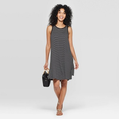 Women's Striped Regular Fit Sleeveless Round Neck Knit Tank Dress - A New Day™