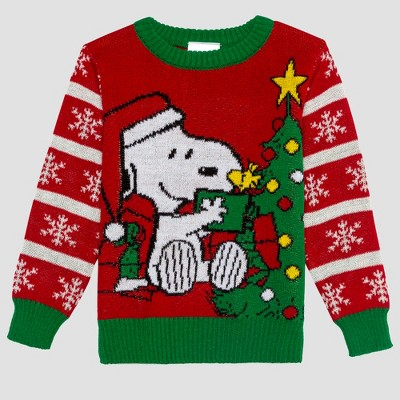 Toddler Boys' Peanuts Snoopy Ugly Holiday Sweater - Red