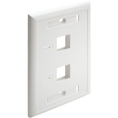 Tripp Lite Dual Outlet RJ45 Universal Keystone Face Plate / Wall Plate - White, 2-Port