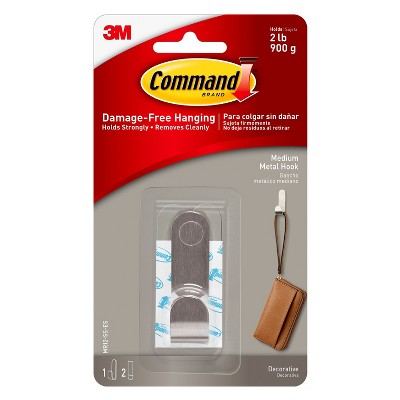 Command Modern Metal Stainless Steel Medium Hook