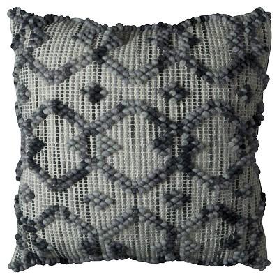 "Natural/Gray Diamond Pattern Throw Pillow (20""x20"") - Rizzy Home®"