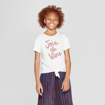Girls' Short Sleeve Tie Front Top - art class™ White