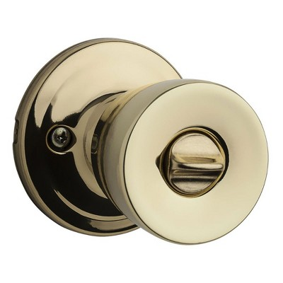 Kwikset Abbey Patio & Porch Keyed Locking Handle Door Knob Set, Polished Brass