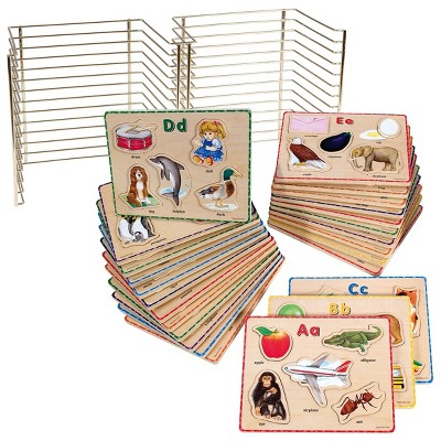 puzzleworks abc puzzle set with wire rack 26 total puzzles