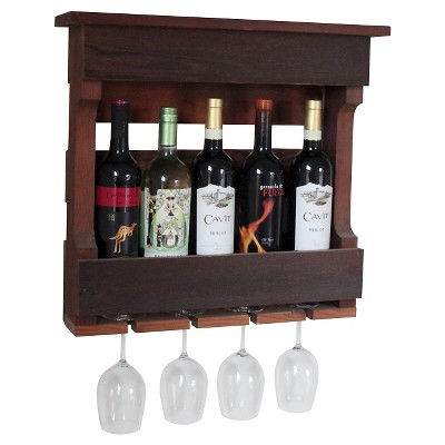 """18"""" Wall Mounted Wine Rack with Shelf Western Red Clear Oil Finish - Red Cedar - Gronomics"""