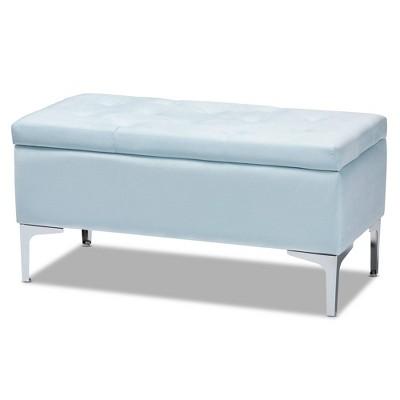mabel velvet fabric upholstered storage ottoman light blue silver baxton studio