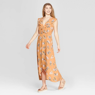 Women's Floral Print Flutter Sleeve V-Neck Wrap Maxi Dress - Xhilaration™