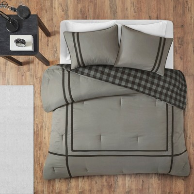 2pc Twin/Twin XL Trent Reversible Comforter Mini Set Gray