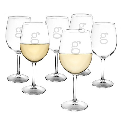 Cathy's Concepts® Personalized 12 oz. White Wine Glasses (Set of 6)-G