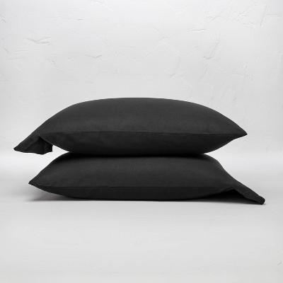 king 100 washed linen solid pillowcase set washed black casaluna