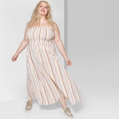 Women's Plus Size Striped Sleeveless Tie Strap Smocked Top Maxi Dress - Wild Fable™ Cream/Rose