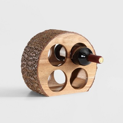 Danya B™ Round Four Bottle Wine Holder Acacia Wood with Bark