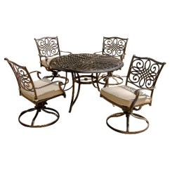 Table With Swivel Chairs Shower Target Hanover Outdoor Furniture Traditions 5 Pc Dining Set Of 4 Aluminum Cast 48 In Round And A Umbrella