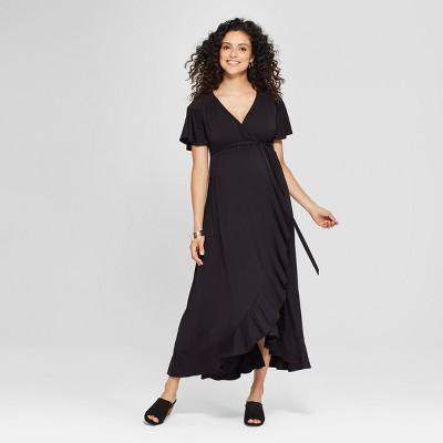 Maternity Short Sleeve Faux Wrap Belted Knit Dress - Isabel Maternity by Ingrid & Isabel™ Black