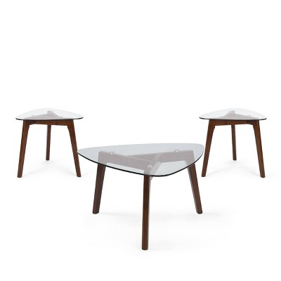 wasco mid century modern coffee table and 2 end tables with glass top walnut christopher knight home