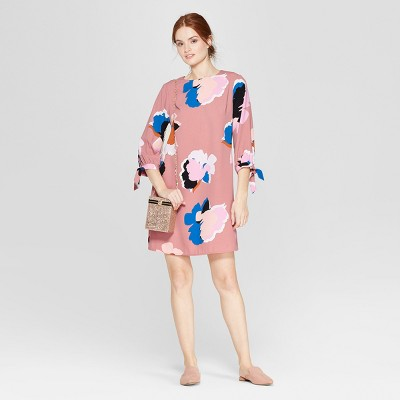 Women's Floral Print Long Sleeve Crepe Dress - A New Day™ Pink