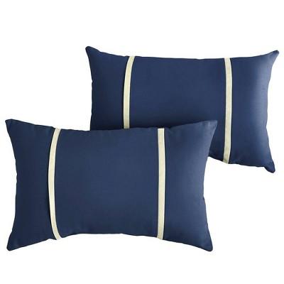 sunbrella 2pk canvas lumbar outdoor throw pillows navy
