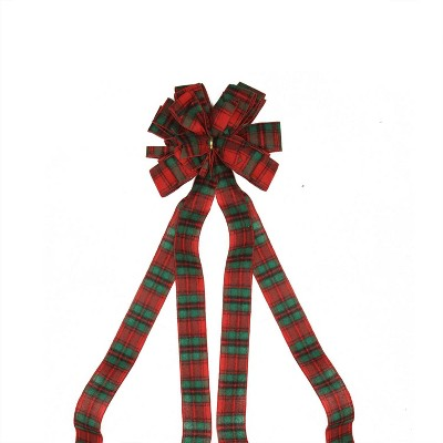 """Northlight 48"""" Traditional Red and Green Plaid Print 16 Loop Christmas Tree Topper Bow Decoration"""
