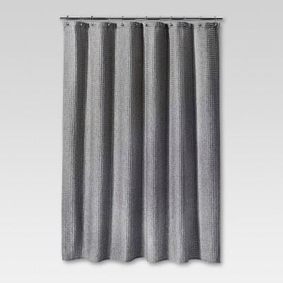 Heathered Waffle Shower Curtain Gray  Threshold  Target
