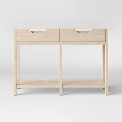 porto 2 drawer wood console table bleached wood project 62