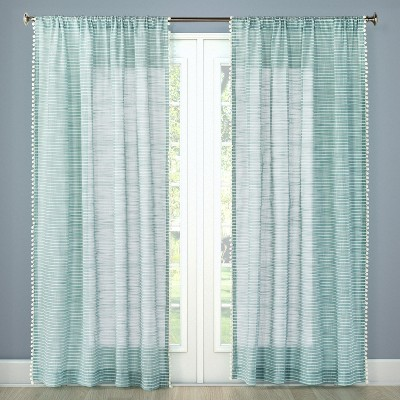 84 x54 pom striped window sheer aqua threshold