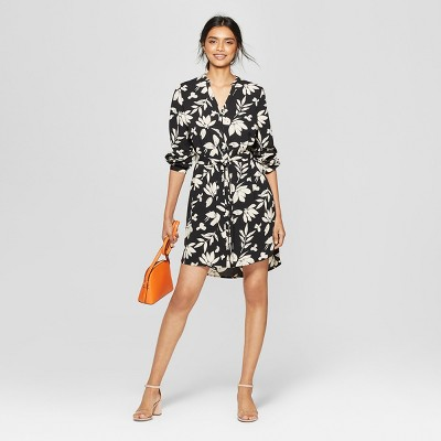 Women's Floral Print Long Sleeve Crepe Shirt Dress - A New Day™ Black/Cream